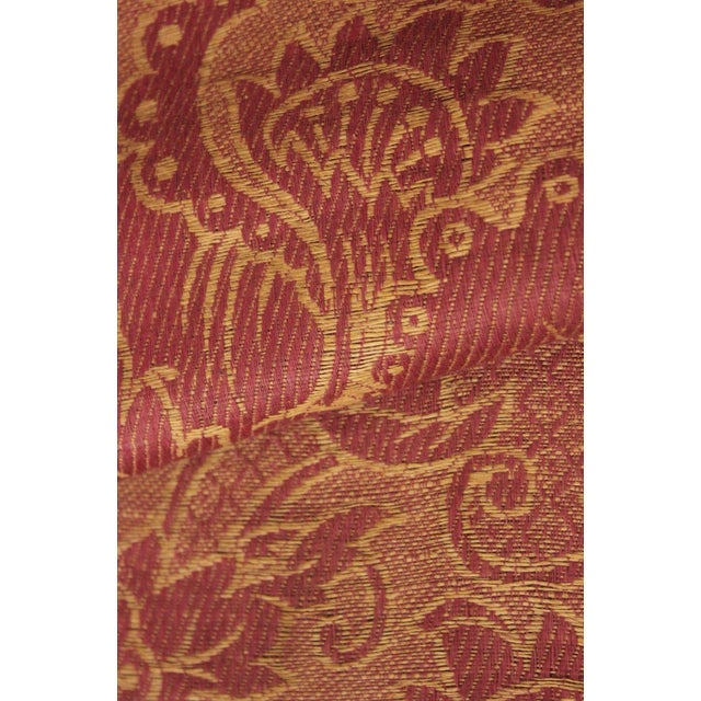 Antique French Fabric 19th Century Jacquard Weave Furnishing Rust Tone For Sale - Image 4 of 12