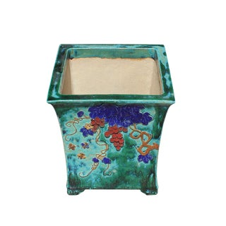 Chinese Ceramic Dimensional Flower Birds Square Green Glaze Plante