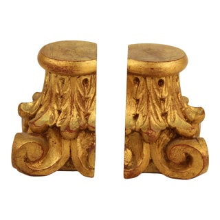 Neoclassical Column Head Gilt-wood Bookends - a Pair For Sale