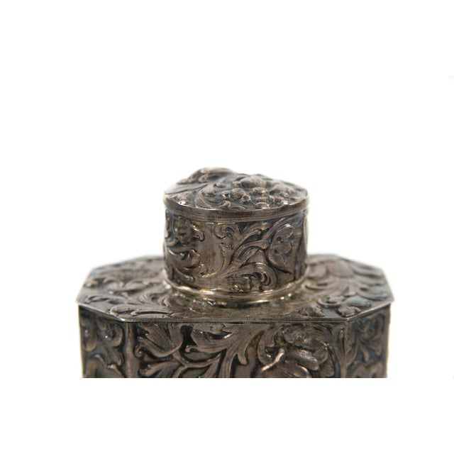 Silver 19th Century Antique Silver Repousse Tea Caddy For Sale - Image 8 of 9