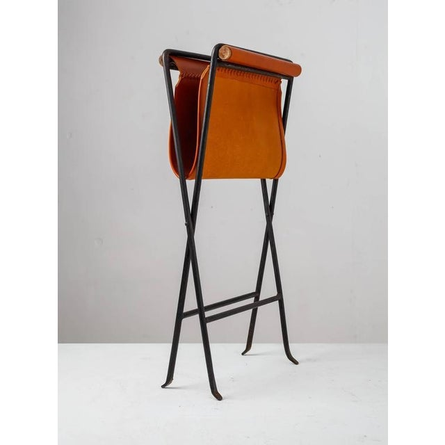 Modern Cleo Baldon Leather and Iron Folding Stool, California, 1960s For Sale - Image 3 of 10