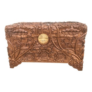 20th Century Indonesian Wooden Floral Carved Chest/Trunk For Sale