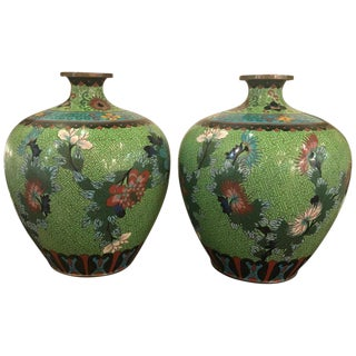 Chinese Cloisonne Bulbous Vases - a Pair For Sale