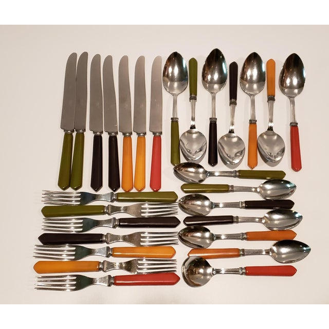 Vintage Bakelite Flatware in Mixed Colors - Set of 28 For Sale - Image 11 of 11