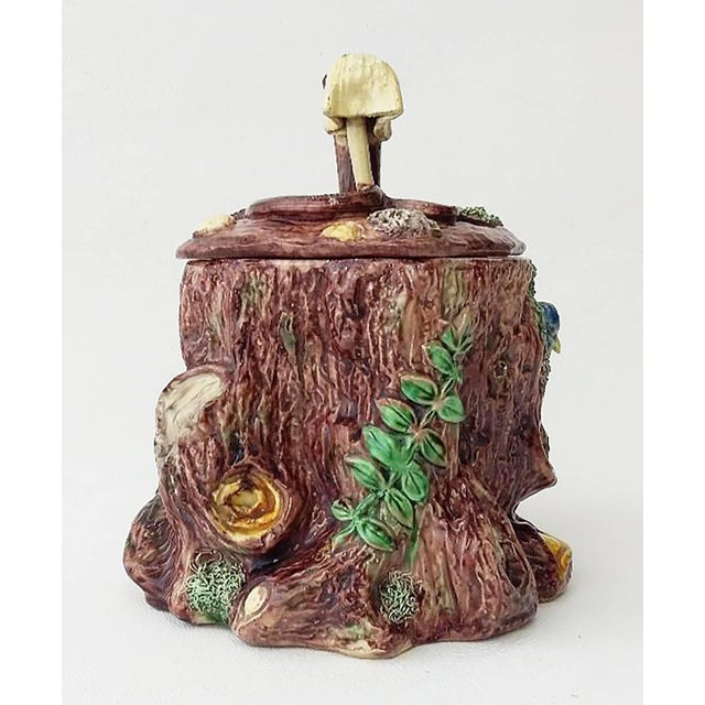 The School of Paris 19th Century Victorian Majolica Palissy Tobacco Jar For Sale - Image 3 of 6