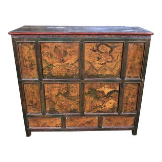 19th Century Asian Antique Painted Chest For Sale