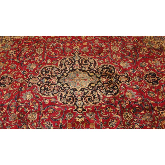 A stunning, very fine, wool pile Persian Khorassan style rug. It is hand woven and features gorgeous ornate, floral...