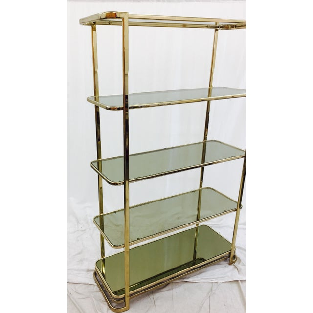 walnut clear bookcase fitzgerald and shelves glass brass p with asp