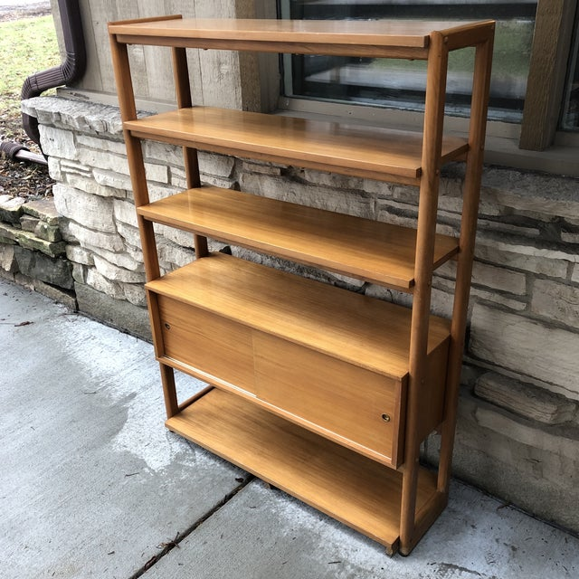 """Rare bookcase/room divider designed by Milo Baughman for Drexel's """"Today's living"""" line. This piece is finished on both..."""