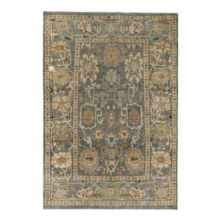 Turkish Rug Sultanabad Style With Brown & Ivory Botanical Details For Sale