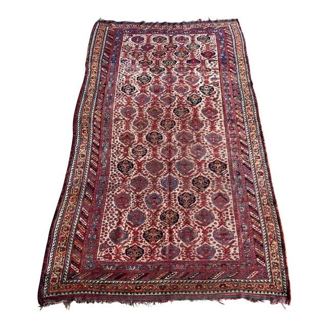 Antique Distressed Persian Khamseh Boho Tribal Rug - 5x9 Wide Runner For Sale