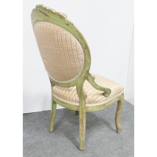 Victorian Victorian Style Paint Distressed Side Chair For Sale - Image 3 of 7
