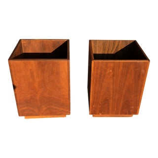 Mid-Century Modernist Wooden Box Planters - a Pair