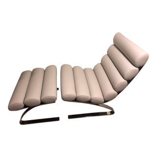 Cor Sinus White Leather Chair + Ottoman For Sale