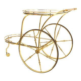 Italian Mid-Century Brass Bar Cart For Sale