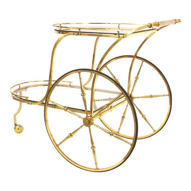 Italian Mid-Century Brass Bar Cart For Sale