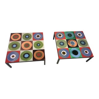 Pair of Colorful Modern Tile Tables by Roger Capron For Sale