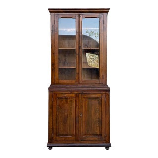 19th Century Spanish Vitrine, Bookcase Tallboy Cabinet With Glass Doors For Sale