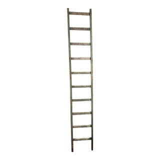 Antique French Rustic Green Ladder For Sale