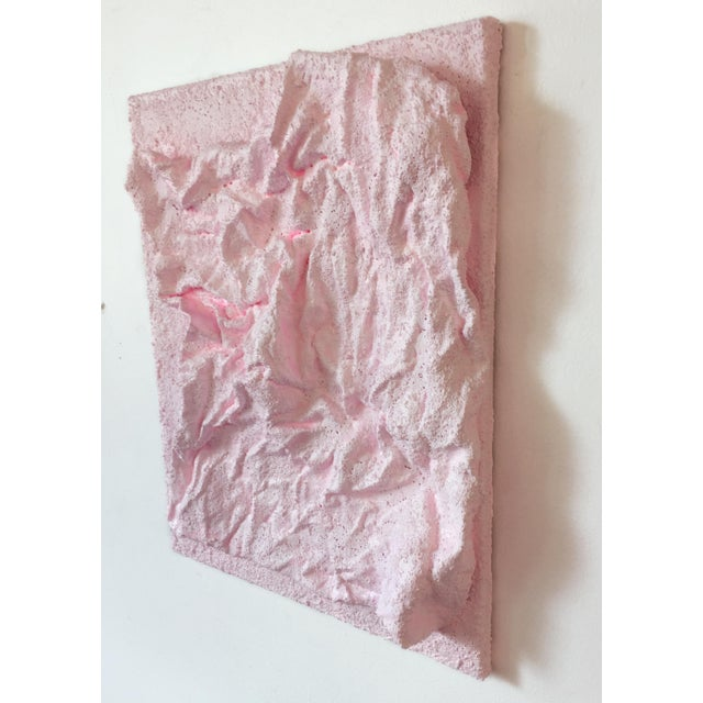 "Chloe Hedden ""Delicate Pink Folds"" Mixed Media Wall Sculpture For Sale - Image 4 of 9"