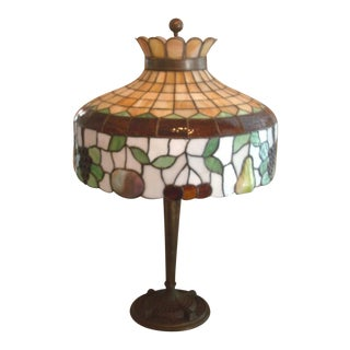 Early 1900's Williamson Leaded Glass Table Lamp For Sale
