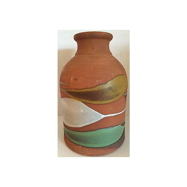 Mid-Century Modern Partially Glazed Artistic Pottery Bottle For Sale - Image 3 of 6
