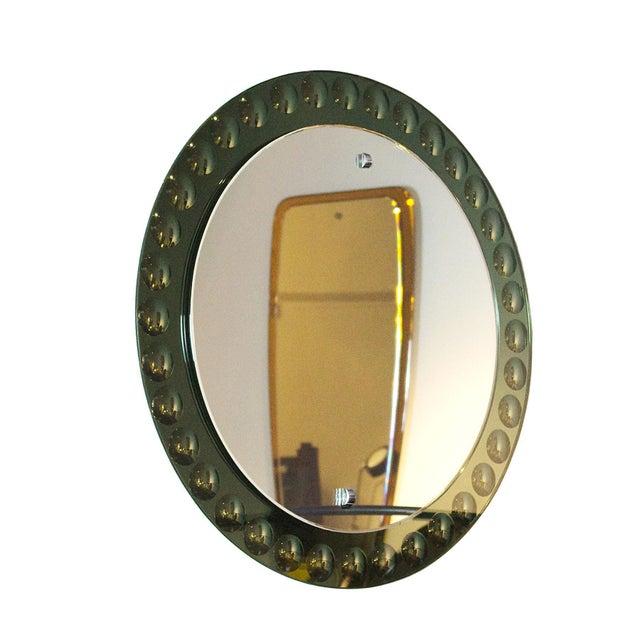 Mid-Century Modern 1950s Round Mirror, Intaglio Grey-Green Mirror Frame - Italy For Sale - Image 3 of 7