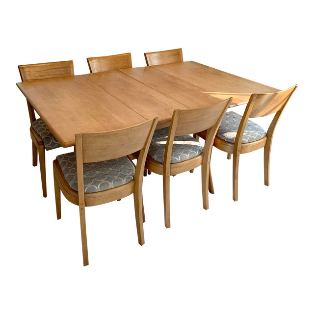 Mid-Century Modern Heywood-Wakefield Harmonic Drop Leaf Dining Table Set - 7 Pieces For Sale