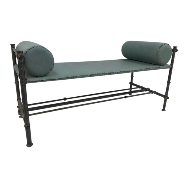 Industrial Leather Wrought Iron Bench For Sale