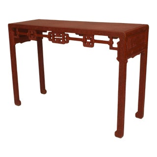 Asian Chinese Red Cinnabar Console Table For Sale