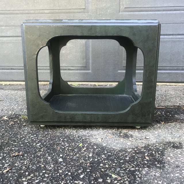 Art Deco Chinoiserie Green Painted Cube Accent Table by Baker Furniture For Sale - Image 3 of 7
