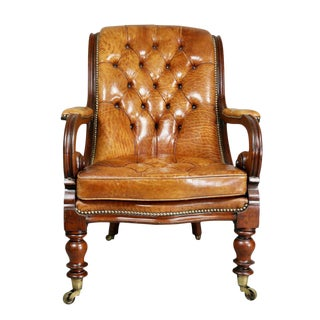William IV Mahogany and Tufted Leather Armchair For Sale