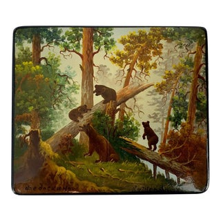 """""""Morning in the Woods"""" a Russian Lacquer Box After a Painting by Ivan Shishkin For Sale"""