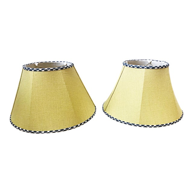 Dogwood and House of Harris Yellow Serenbe Showhouse Lampshades - a Pair For Sale