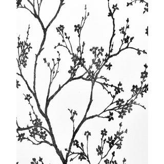 Sample - Schumacher Twiggy Paperweave Wallpaper in Black For Sale