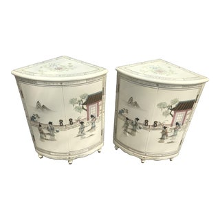 Cream Lacquer Chinoiserie Side Chests - A Pair For Sale
