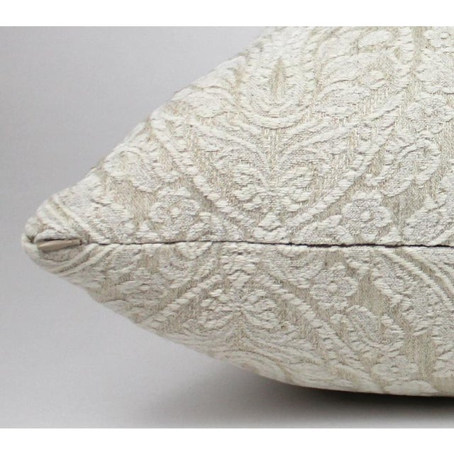 Creamy White Damask Throw Pillow For Sale - Image 5 of 6