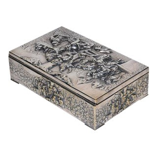 Antique Continental Silverplate Covered Village Scene Motif Rectangular Box For Sale