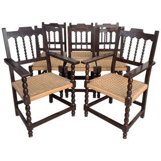 20th Century Set of Eight Catalan Chairs/Armchairs in Walnut and Caned Seats For Sale