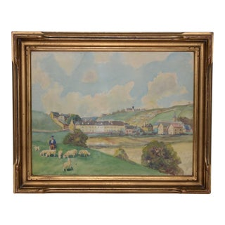 19th Century English Landscape W/ Rolling Hills and a Shepherd Painting For Sale