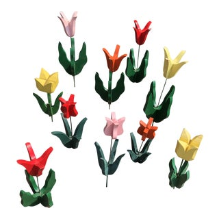 Folk Art Set of 10 Red Orange Yellow Pink Hand Carved Wooden Tulips For Sale