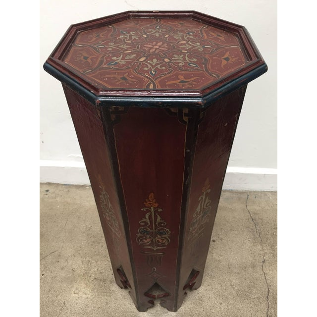 Hand-Painted Moroccan Pedestal Table For Sale - Image 13 of 13