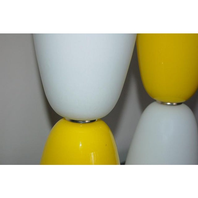 1960s Vintage Murano Glass Table Lamps Yellow White For Sale - Image 5 of 7