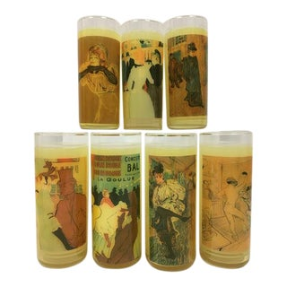 Mid-Century Toulouse-Lautrec Insulated Highball Glasses - Set of 7 For Sale