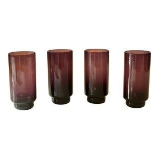 Vintage Smoked Glass Water and Juice Glasses in Purple Violet - Set of 4 For Sale