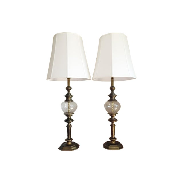 Vintage stiffel brass glass table lamps a pair chairish vintage stiffel brass glass table lamps a pair aloadofball Choice Image