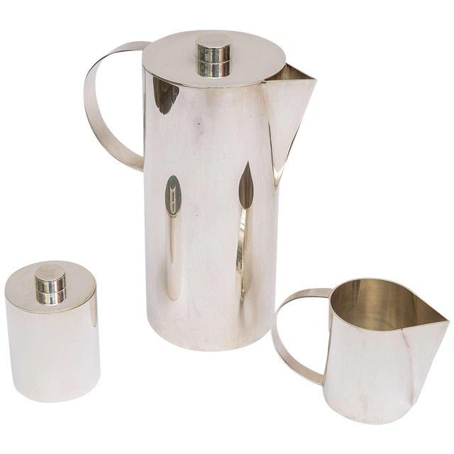 Silver Plate Swid Powell for Calvin Klein Three-Piece Coffee Service For Sale