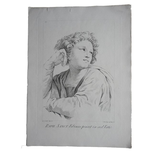 Large Portrait 18th C. Engraving After Raphael - Image 1 of 3