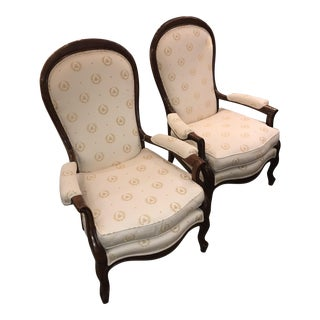 Pair of Napoleon Burl Wood Occasional Chairs