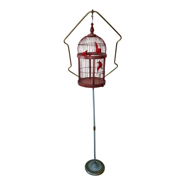Antique Art Deco Brass Painted Blue Bird Cage Stand Holder With Red Wood & Metal Bird Cage For Sale